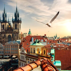 View on Old Town Square from above at summer evening, Prague